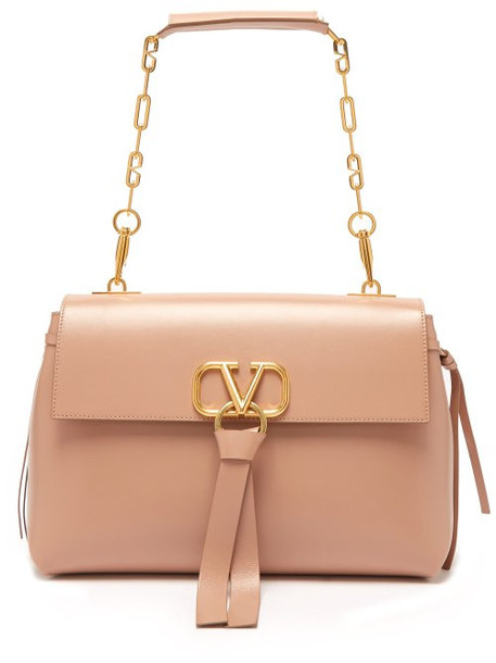 Valentino - V Ring Medium Leather Shoulder Bag - Womens - Nude