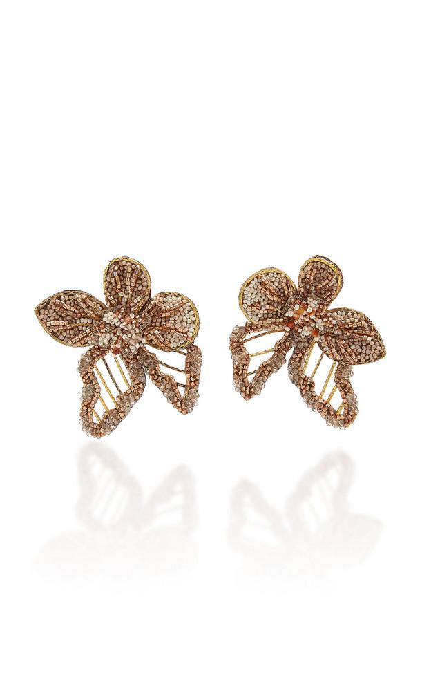Deepa Gurnani Vicki Beaded Floral Earrings in gold