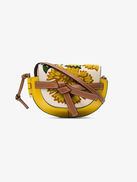 Loewe yellow Gate embroidered mini leather shoulder bag