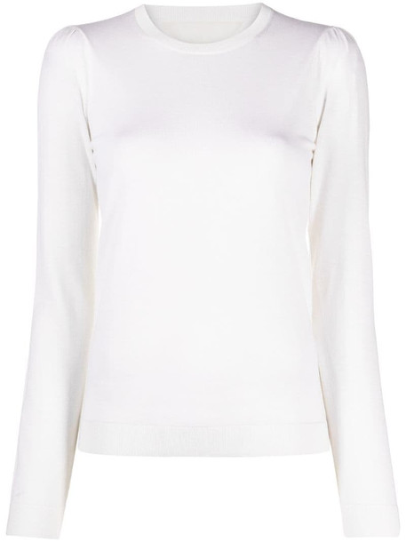 RED Valentino pleated shoulder detail knitted top in white