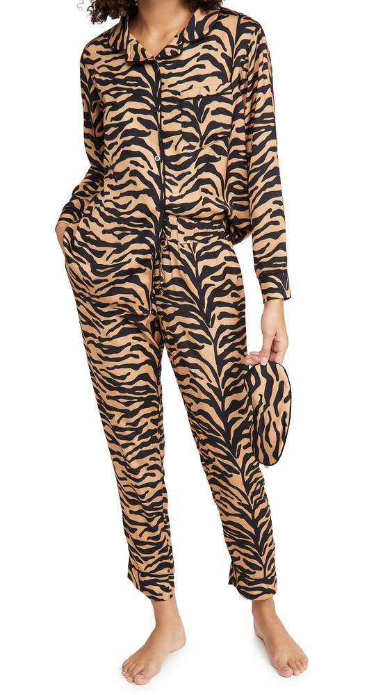 Plush Silky Tiger Pajama + Eyemask Set in black / tan