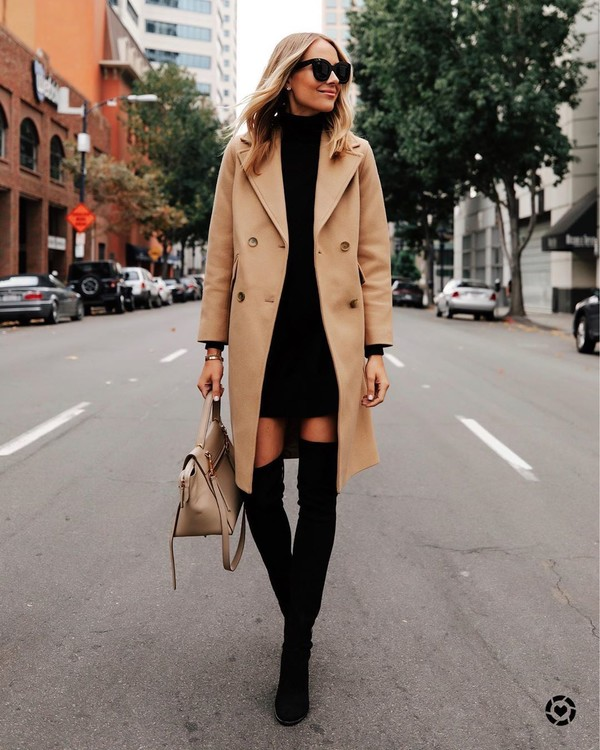 dress black dress turtleneck sweater turtleneck dress black boots over the knee boots coat shoes bag