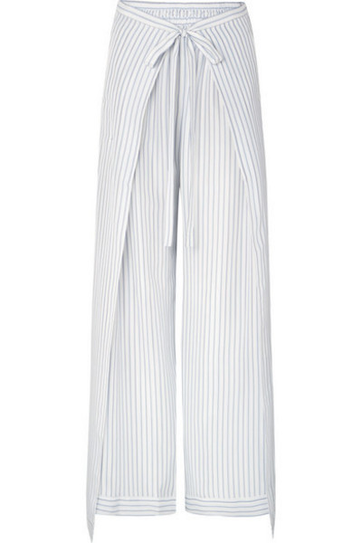 Chloé Chloé - Belted Layered Pinstriped Silk Wide-leg Pants - Ivory