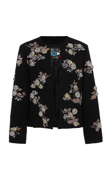 Libertine Twilight Garden Collarless Jacket Size: XS in black