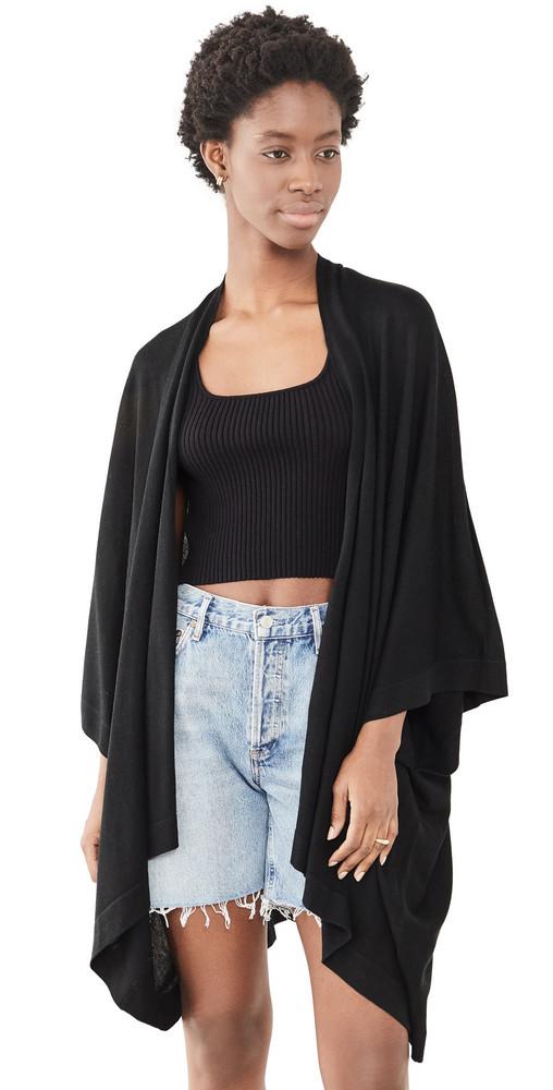 Naadam Solid Poncho Cardigan in black