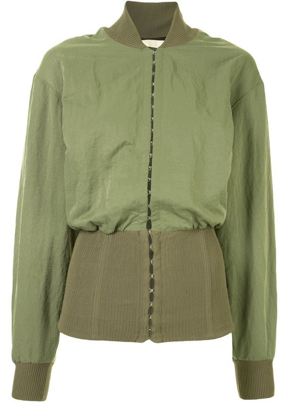 Dion Lee hook-and-eye bomber jacket in green