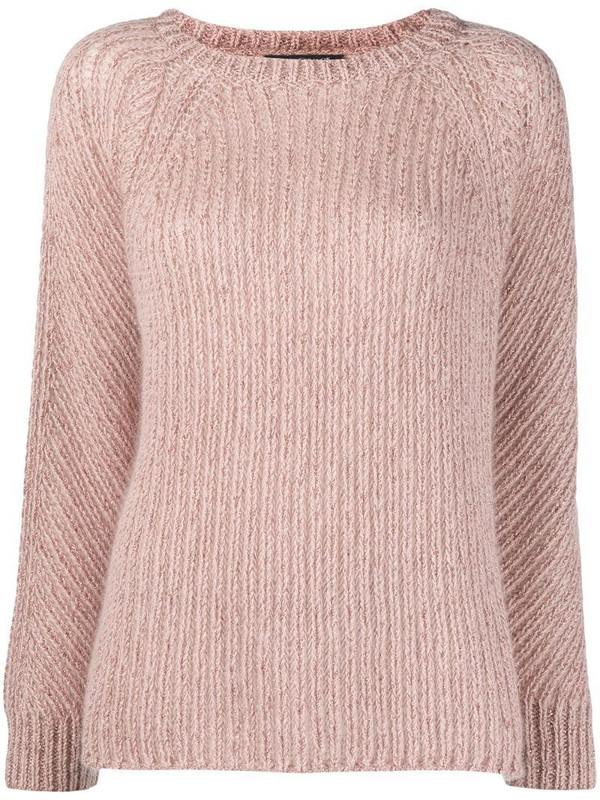 Luisa Cerano metallic rib-trimmed jumper in pink