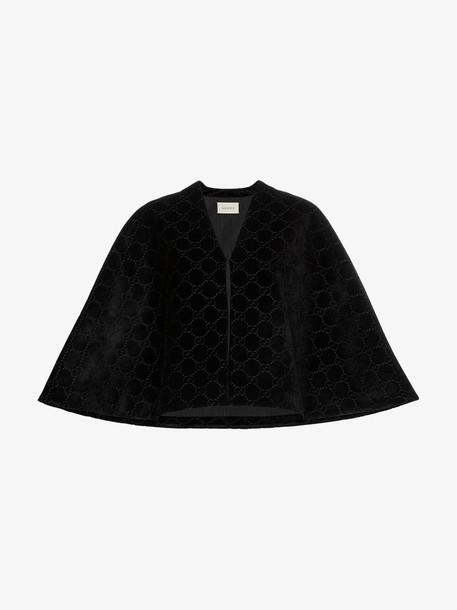 Gucci GG velvet cape in black