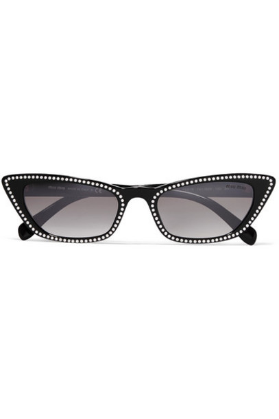 Miu Miu - Cat-eye Studded Acetate Sunglasses - Black