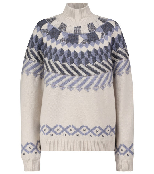 Barrie Patterned cashmere sweater in white