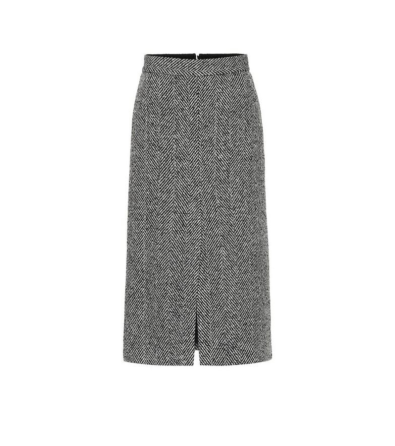 REDValentino Chevron tweed midi skirt in black