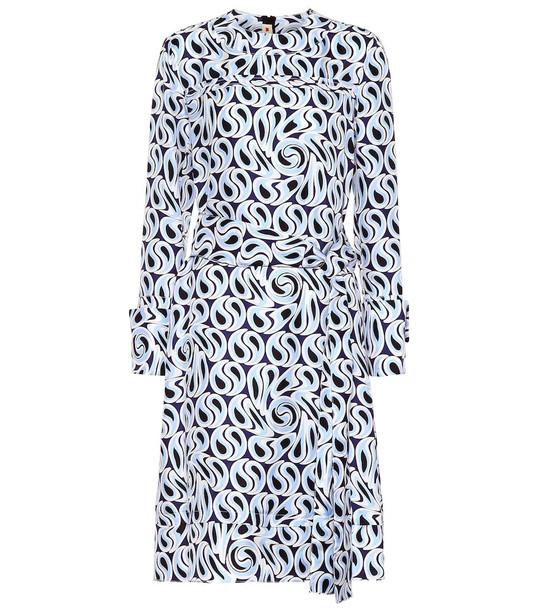 Marni Printed silk midi dress in blue