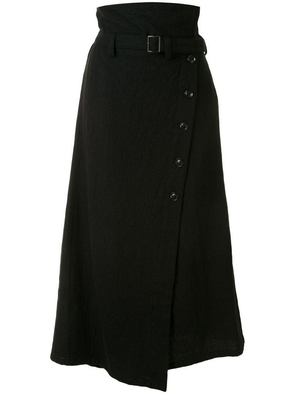 Y's asymmetric hem wool skirt in black