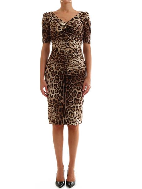 Dolce & Gabbana Midi Dress Leo in brown