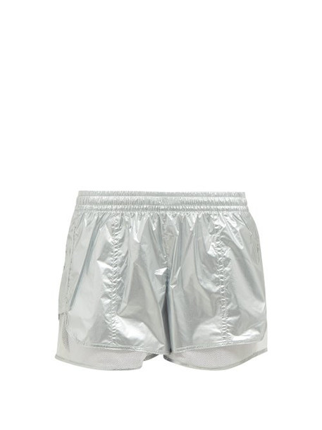 Adidas By Stella Mccartney - Metallic Nylon Performance Shorts - Womens - Silver