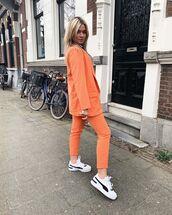 jacket,blazer,orange,cropped pants,skinny pants,white sneakers,shirt