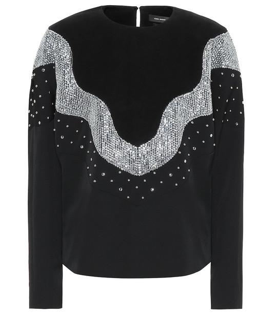 Isabel Marant Valia embellished wool top in black