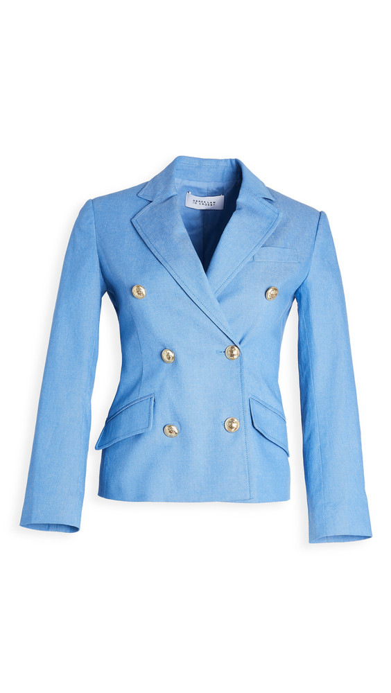 Derek Lam 10 Crosby Myla Double Breasted Cropped Blazer in blue