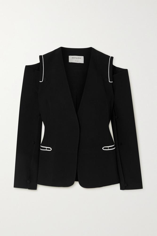 ZEUS + DIONE ZEUS + DIONE - Mystras Convertible Cold-shoulder Crepe Blazer - Black