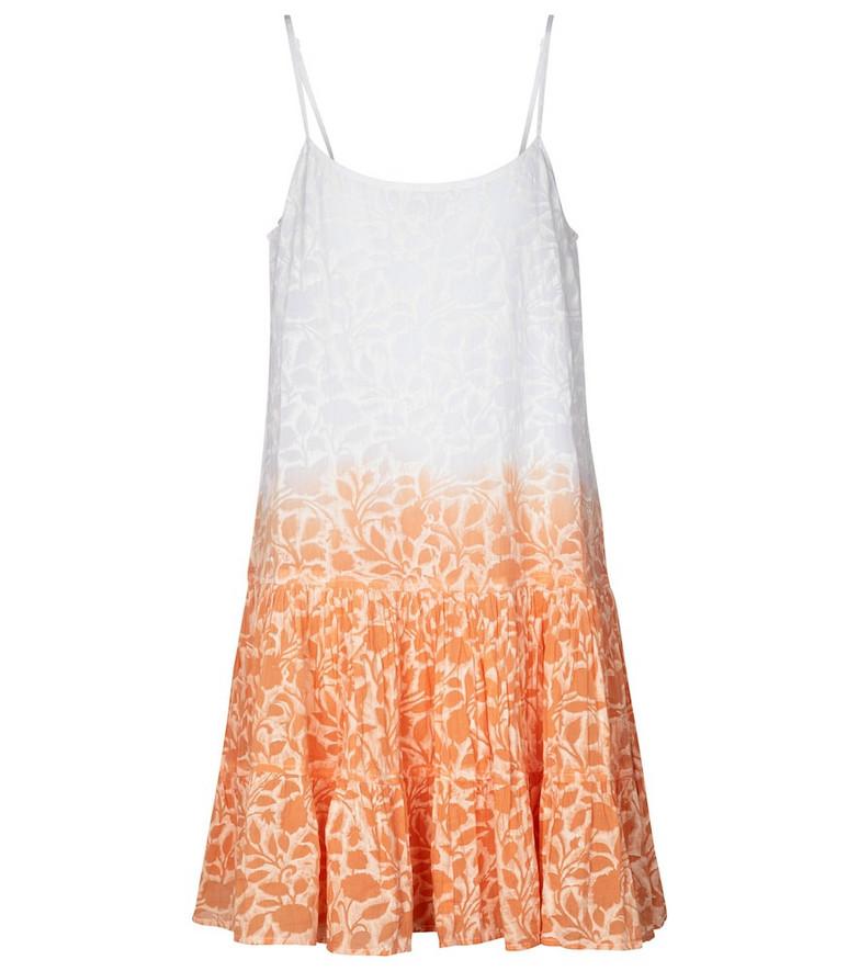 Juliet Dunn Floral tie-dye cotton minidress in orange
