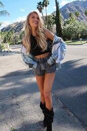 shorts,grey,denim shorts,romee strijd,model off-duty,coachella,coachella outfit,festival
