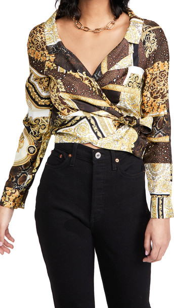 Versace Barocco Patchwork Silk Blouse in bianco