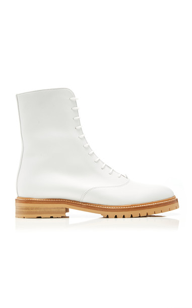 Gabriela Hearst Ruben Leather Combat Boots in white