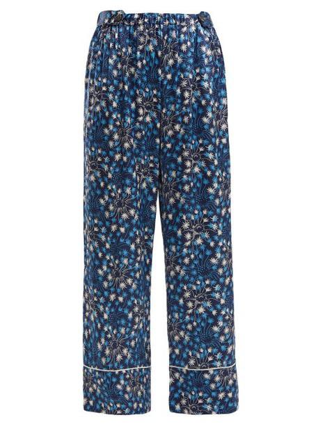 Morgan Lane - Melissa Dandelion Print Silk Pyjama Trousers - Womens - Navy Print