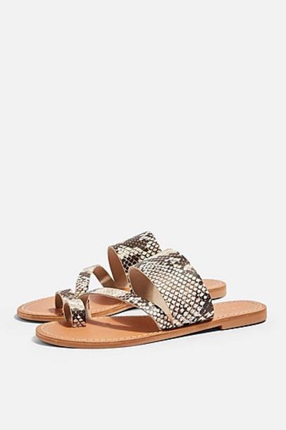Topshop *Wide Fit Hazy Snake Sandals - Natural