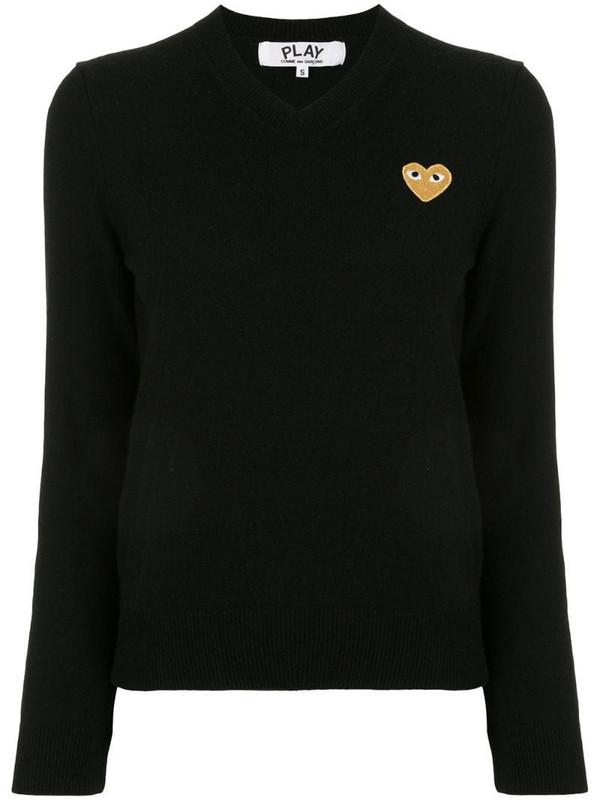 Comme Des Garçons Play logo-patch v-neck jumper in black