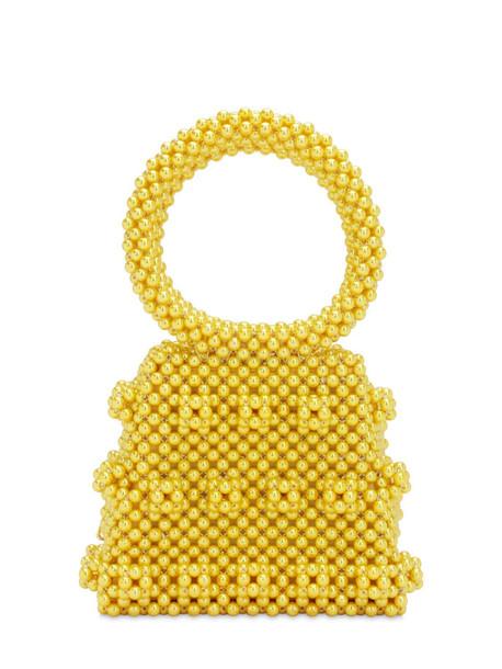 SHRIMPS Dante Beaded Top Handle Bag in yellow