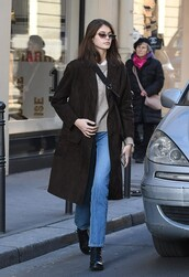 coat,kaia gerber,model off-duty,fall outfits,suede