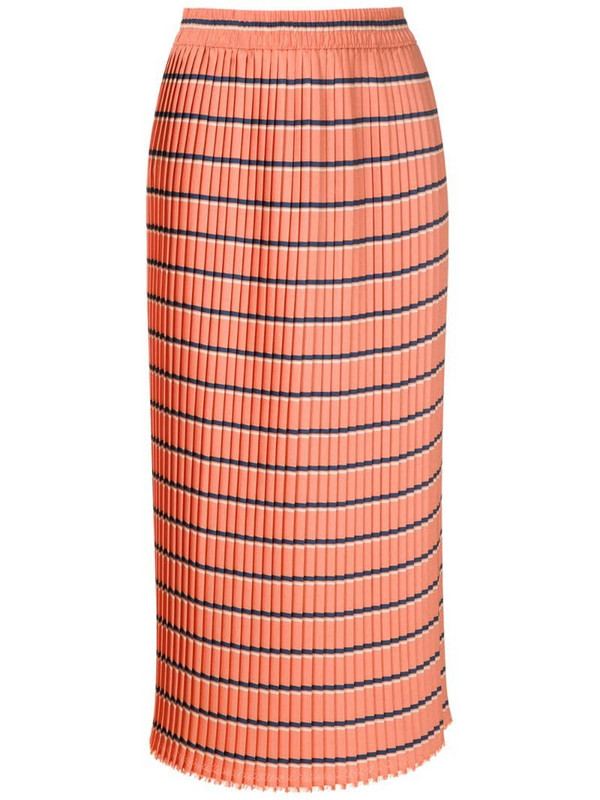 À La Garçonne pleated midi skirt in orange