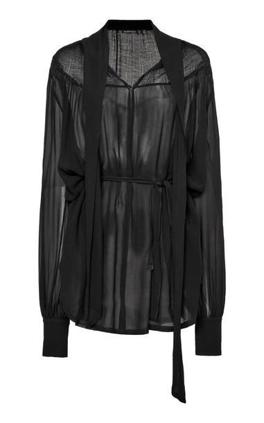 Ann Demeulemeester Draped Silk Top in black