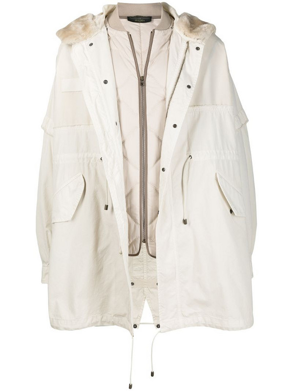 Mr & Mrs Italy hooded parka coat in neutrals