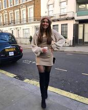 dress,mini dress,plaid dress,zara,black boots,over the knee boots,tights,oversized sweater,shoulder bag,beret