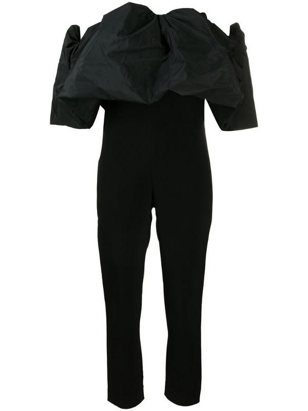 Cushnie off-the-shoulder puff silk jumpsuit in black