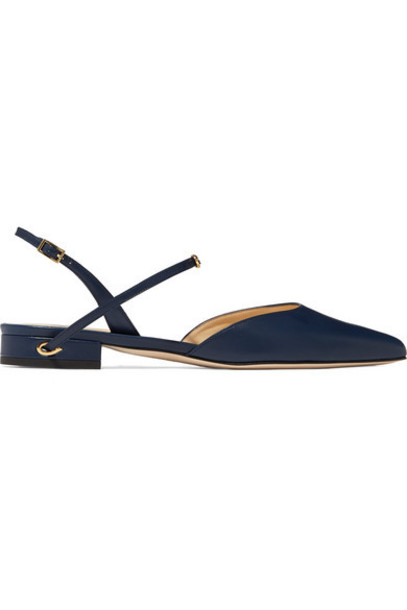 Jennifer Chamandi - Vittorio Leather Slingback Point-toe Flats - Navy