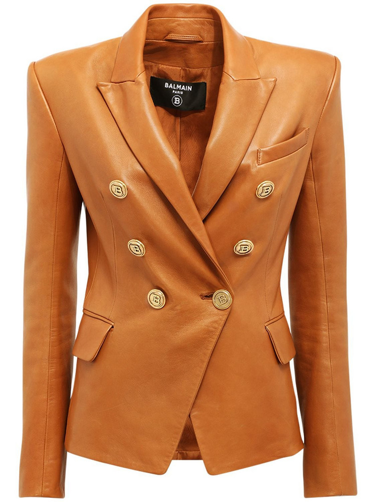 BALMAIN Fitted Leather Double Breast Jacket in camel