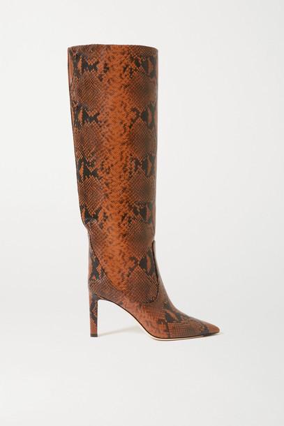 JIMMY CHOO - Mavis 85 Snake-print Leather Knee Boots - Animal print