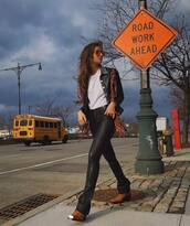 pants,leather pants,brown boots,white t-shirt,black jacket,casual