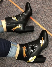 shoes,space patches,black boots,space,black heels,leather boots