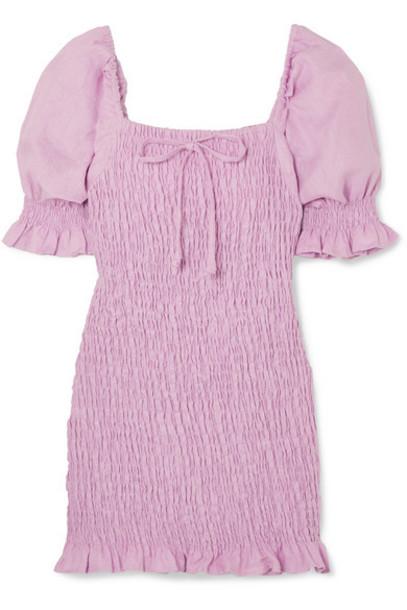 Faithfull The Brand - Annibelis Shirred Linen Mini Dress - Lilac