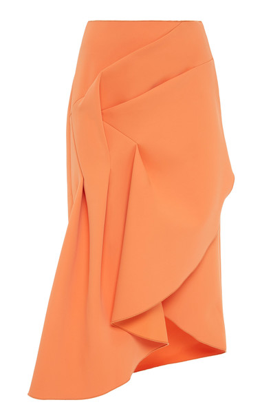 Acler Redwood Ruched Midi Skirt Size: 2 in orange