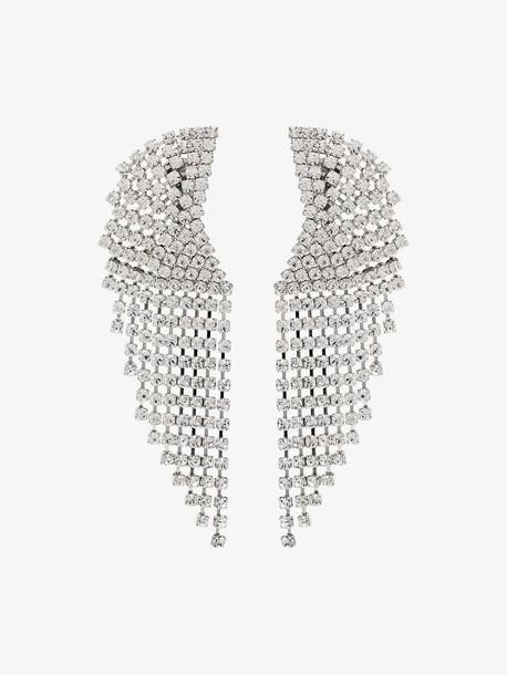 Alessandra Rich silver tone cascade crystal earrings