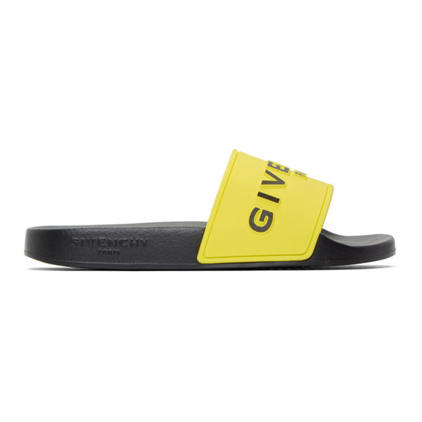 Givenchy Yellow and Black Logo Pool Slides
