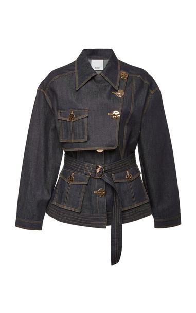 Acler Lewis Belted Denim Jacket Size: 10 in blue
