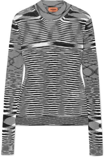 Missoni - Striped Ribbed Crochet-knit Sweater - Black
