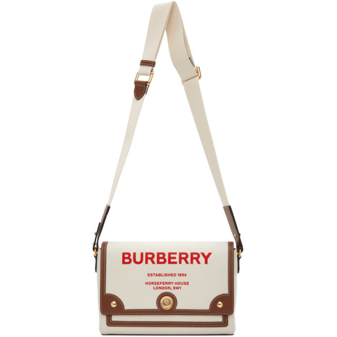 Burberry Beige Medium Horseferry Note Pouch in natural / tan