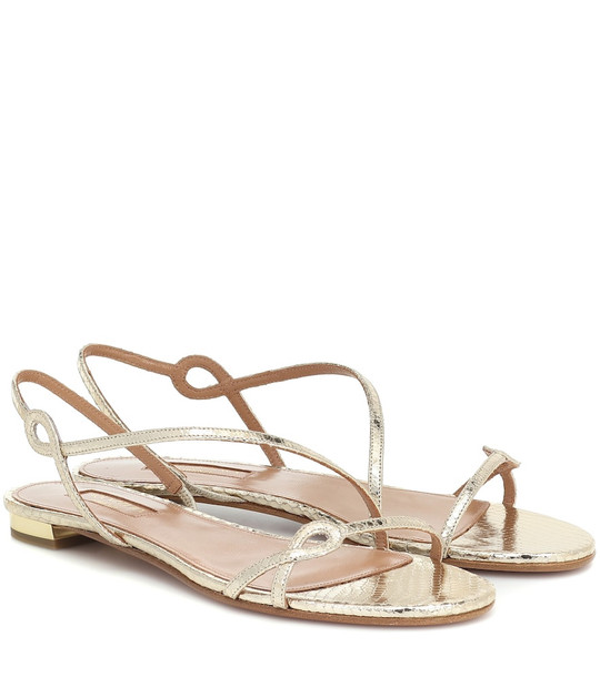 Aquazzura Serpentine leather sandals in silver